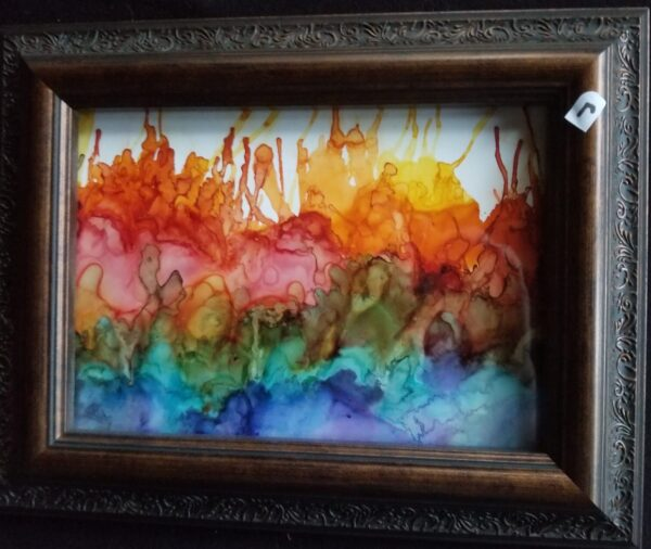 Rainbow Skyline - Alcohol Ink Tile Art - Dragonflys Wings