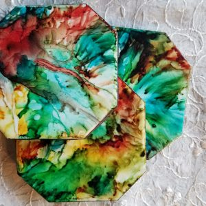 Green Tahiti - Alcohol Ink Coasters - Alcohol Ink Tile Art - Dragonflys Wings