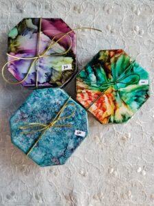 Ceramic sets - Alcohol Ink Coasters - Alcohol Ink Tile Art - Dragonflys Wings