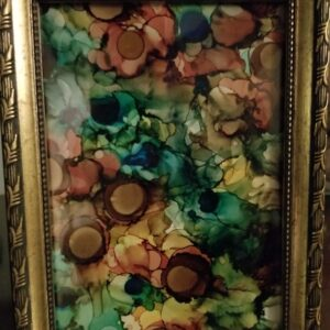 Golden Hills - Alcohol Ink Tile Art - Dragonflys Wings
