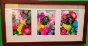 3 Paneled Circus - Alcohol Ink Tile Art - Dragonflys Wings
