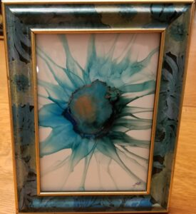 Sunflower Blues - Alcohol Ink Tile Art - Dragonflys Wings
