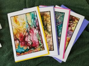 Organized Notecards - Alcohol Ink Art - Dragonflys Wings