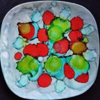 Strawberries Accessory Dishes - Alcohol Ink Tile Art - Dragonflys Wings