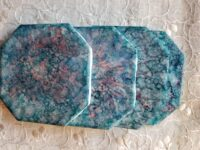 Sky Blue Pink Alcohol Ink Coaster Set - Dragonfly Wings