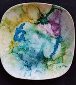 Dreamy Haze Accessory Dishes - Alcohol Ink Tile Art - Dragonflys Wings