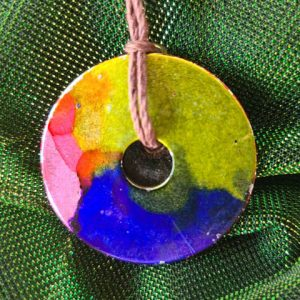 Necklace #2 Parrot - Alcohol Ink Pendant Necklace - Dragonflys Wings
