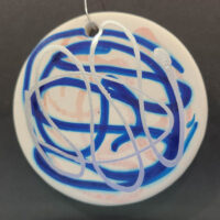 Silver and Denim - Ceramic Disc Ornament - Dragonflys Wings