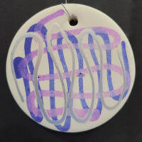 Silver and Lavender - Ceramic Disc Ornament - Dragonflys Wings