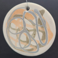 Silver and Peach - Ceramic Disc Ornament - Dragonflys Wings