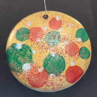 Silver and Polka Dots - Ceramic Disc Ornament - Dragonflys Wings