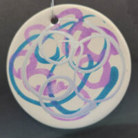 Silver, Blue, and Peach - Ceramic Disc Ornament - Dragonflys Wings