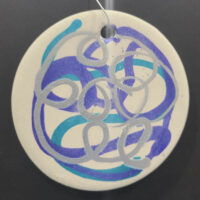 Silver, Blue, and Purple - Ceramic Disc Ornament - Dragonflys Wings