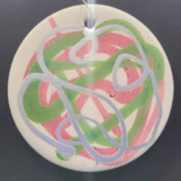 Silver Salmon - Ceramic Disc Ornament - Dragonflys Wings
