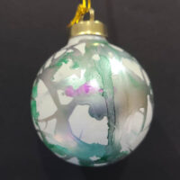 Silver and Teal #2 Wizard Orb - Alcohol Ink - Dragonflys Wings