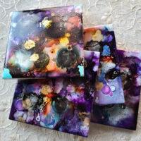 Dark Purple Set - Coaster Set - Dragonflys Wings