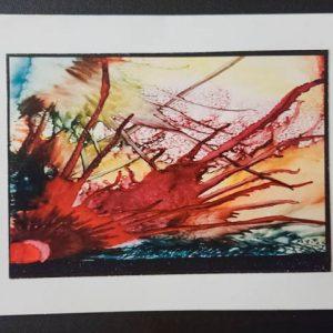 Medium Notecard #1 - Alcohol Ink Dragonflys Wings