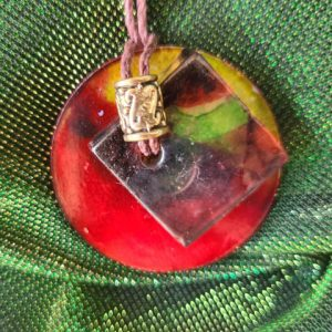 Necklace #6 Squared Red - Alcohol Ink Pendant Necklace - Dragonflys Wings