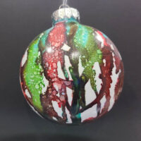 Green and Currant Wizard Orb - Alcohol Ink - Dragonflys Wings