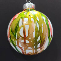 Green and Gold Wizard Orb - Alcohol Ink - Dragonflys Wings