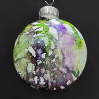 Pale Green, Gold, and Glitter Wizard Orb - Alcohol Ink - Dragonflys Wings