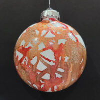 Pale Orange and Gold Wizard Orb - Alcohol Ink - Dragonflys Wings