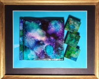 Purple with Green Assistance - Framed Tiles - Dragonflys Wings