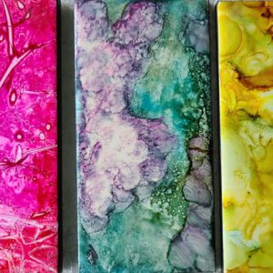 3x6 Hot Pink Saran, Peony Blue , Daisy Morning - UnFramed Tiles - Dragonflys Wings