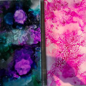 3x6 Silver Spheres & Just a Little Pink - UnFramed Tiles - Dragonflys Wings