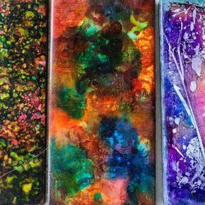 3x6 Tarantella, Dark, Saran Delight - UnFramed Tiles - Dragonflys Wings