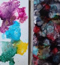 4x10 - Glitter Happy & Smolder - UnFramed Tiles - Dragonflys Wings