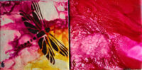 4x4 Dragonfly Pink(sm) - Waves of Red - UnFramed Tiles - Dragonflys Wings