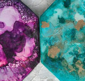 4x4 Purple Haze & Teal Upon Gold - UnFramed Tiles - Dragonflys Wings
