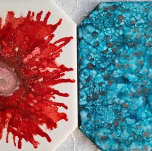 6x6 Crimson Bloom & Teal Patterns - UnFramed Tiles - Dragonflys Wings