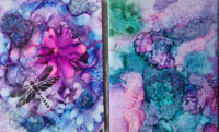 8x10 - Dragonfly Pink & Cotton Candy - UnFramed Tiles - Dragonflys Wings
