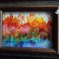 Rainbow Skyline - Alcohol Ink Art Tile - Dragonflys Wings