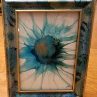 Sunflower Blues - Alcohol Ink Art Tile - Dragonflys Wings