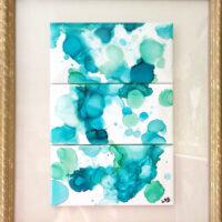 "12""x 14"" Blue Bubbles - Alcohol Ink Art Tile - Dragonflys Wings"