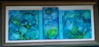 Blue Horizon - Alcohol Ink Art Tile - Dragonflys Wings