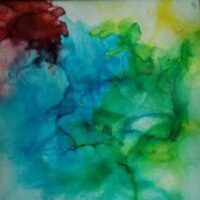 Earliest Rose - Alcohol Ink Art Tile - Dragonflys Wings