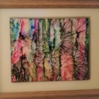 Forest Glimmers - Alcohol Ink Art Tile - Dragonflys Wings