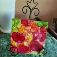 Rosy Spring - Alcohol Ink Art Tile - Dragonflys Wings