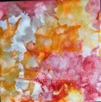 Silvered Tangerine - Alcohol Ink Art Tile - Dragonflys Wings