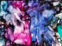 Study of Blue Fantasia - Alcohol Ink Art Tile - Dragonflys Wings